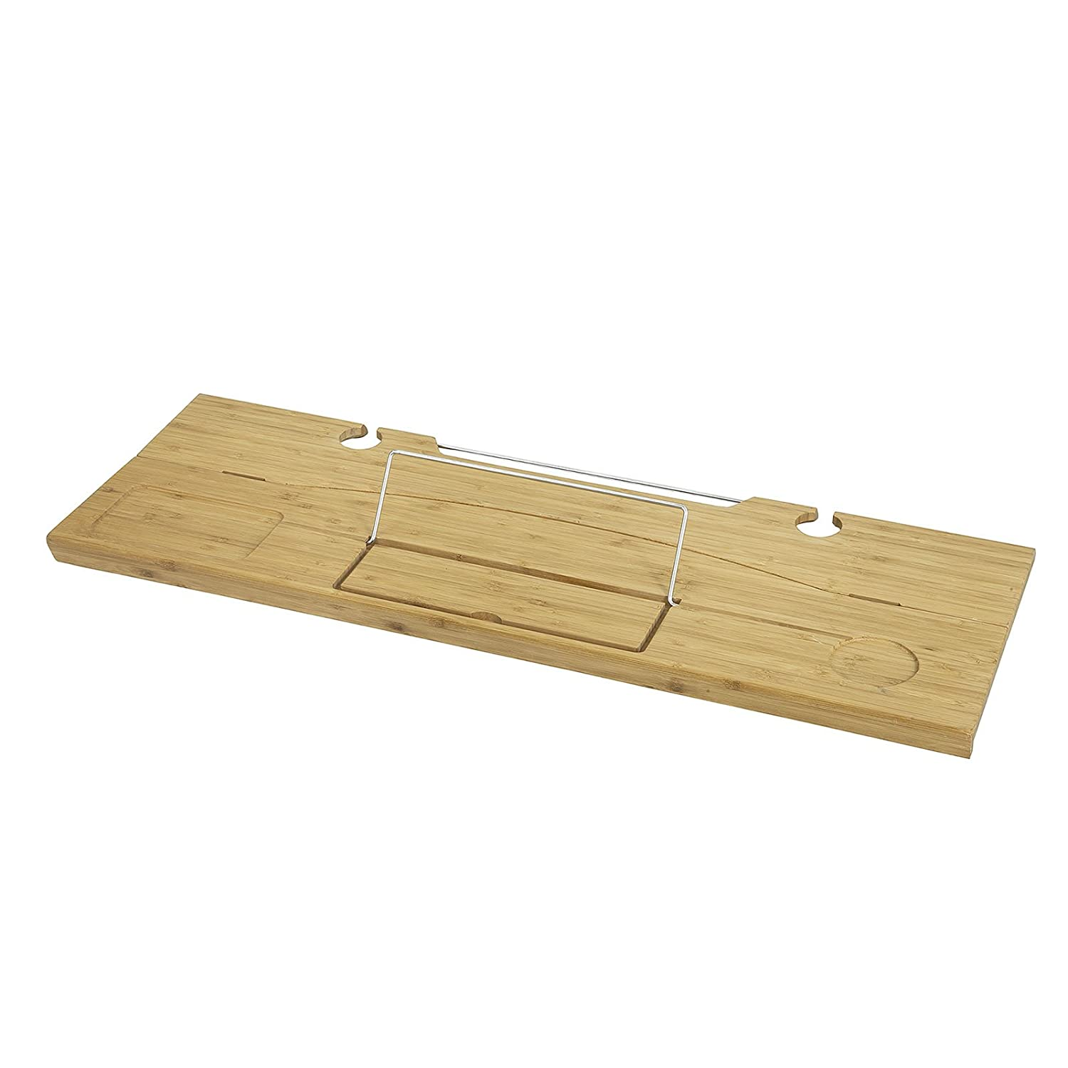 SoBuy Promotion -20% FRG251-N, Foldable Bamboo Bathtub Rack Caddy Tray with Book Rest iPad Phone Wine Holder