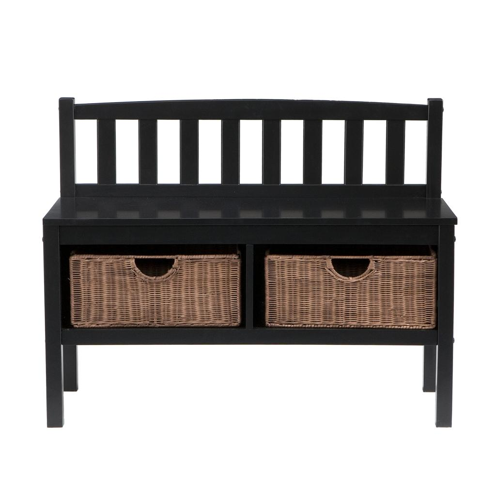 Sei black bench with two brown rattan baskets storage benches Bench with baskets