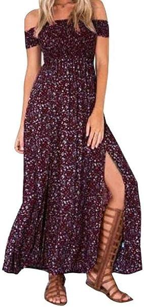 2019 New!Summer Plus Size Dresses,Women Casual Floral Pattern Off Shoulder Bandage Irregular Slit Maxi Dress
