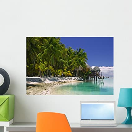 Amazoncom Wallmonkeys Tropical Dream Beach Paradise Wall Decal