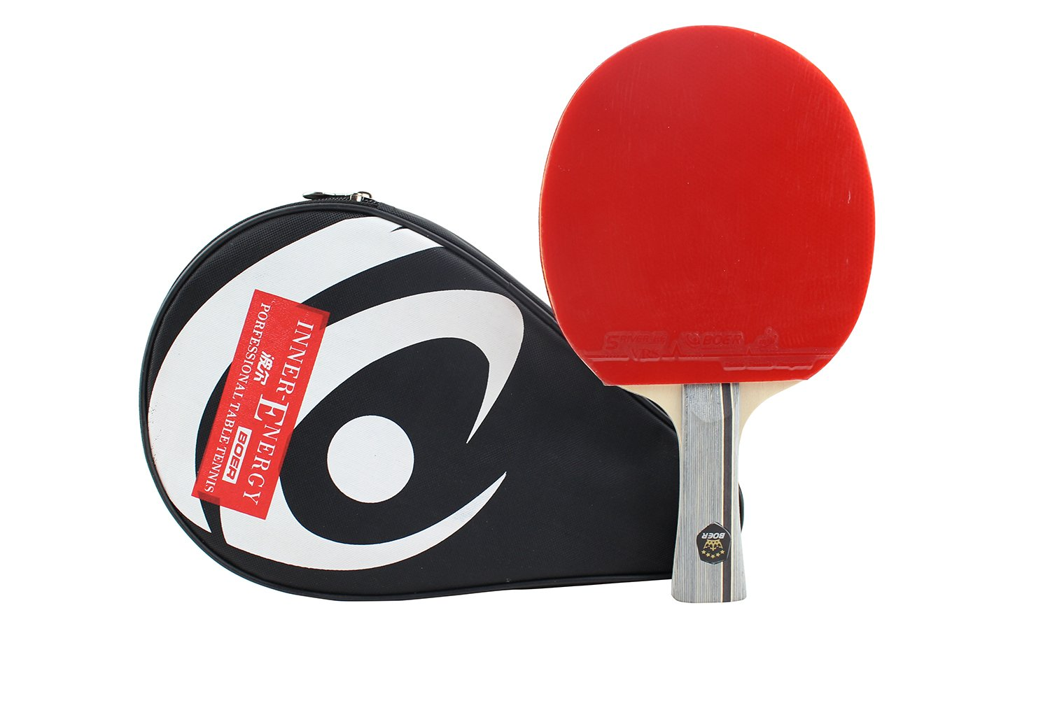 Larsuyar Advanced Trainning Table Tennis Paddle with Carrying Bag- 7 ply Wooden Blade with Long Handle (1 Star Shakehand Racket)