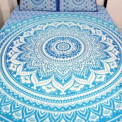 Indian Mandala Ombre Blue White Bohemian Boho Large Throw Bed Sheet Wall Hanging Tapestry Queen double kingsize