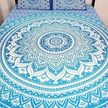 Indien Mandala Ombre Bleu Blanc De Boheme Boho Grand Couvre Lit Drap