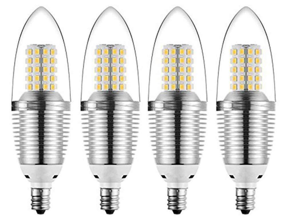 JKLcom E12 LED Candelabra Bulb 12W LED Candle Bulbs,90-100W Light Bulbs Equivalent,E12 Candelabra Base,Warm White 3000K,Non-Dimmable,Torpedo Shape,Pack of 4