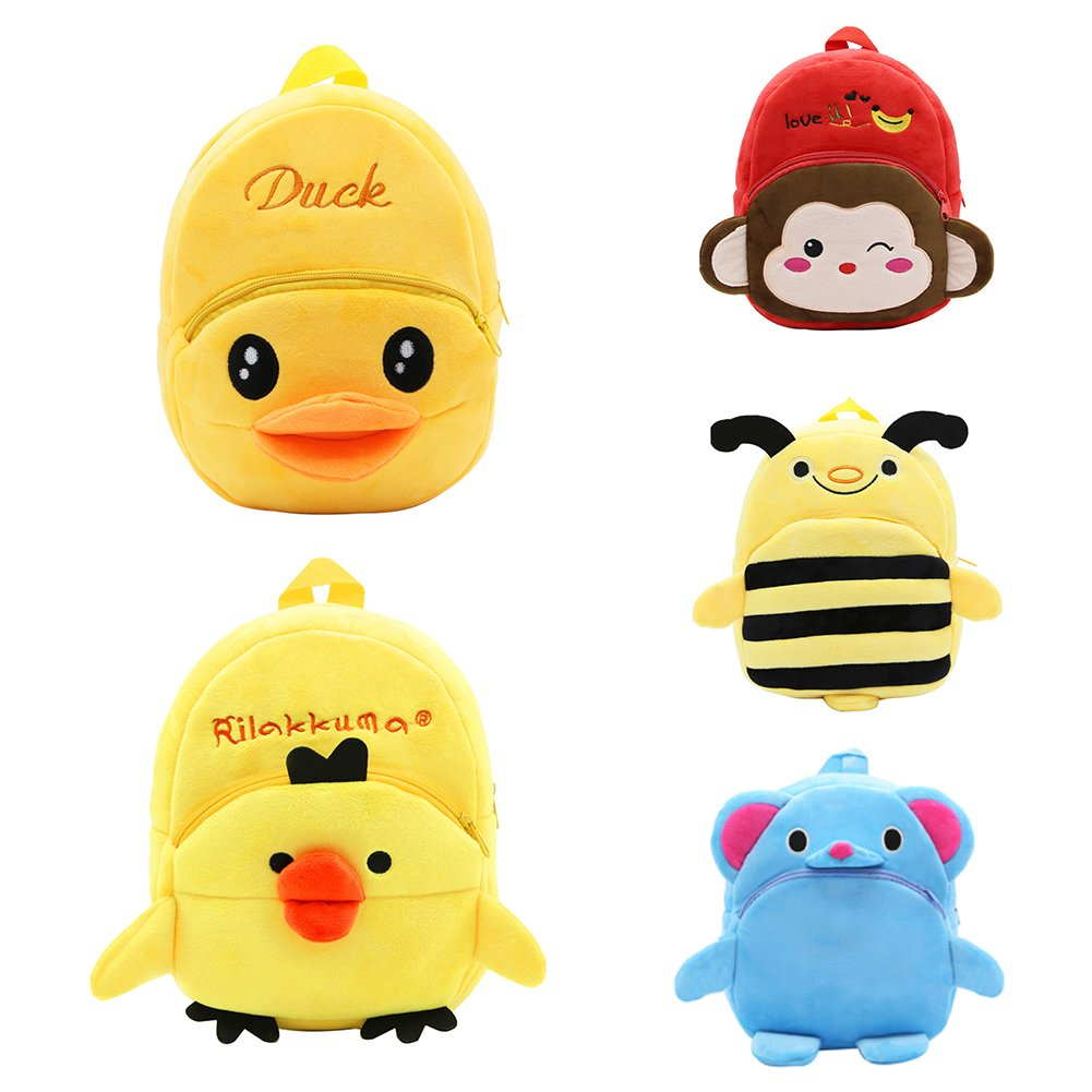 Cartoon Anti-Lost Elephant Monkey Bee Duck Backpack Kids Kindergarten Schoolbag Little Duck ruiycltd