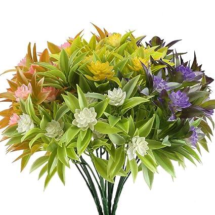 Nahuaa Artificial Fake Flowers Bundles 4PCS Outdoor Plastic Greenery Plants Bushes Faux Floral Bouquets Table Centerpieces