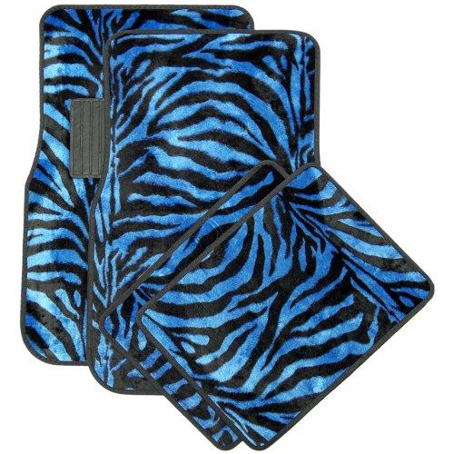 Animal Car Floor Mats (OxGord 4pc Set of Zebra Print Auto Floor Mats - Velour Animal Fur Vehicle Carpets - Universal Fit for Cars, Truck, SUV, or Van, Front & Rear, Driver Passenger Seat - Blue)