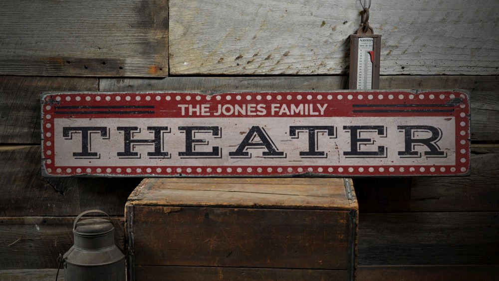 Theater Wood Sign, Custom Family Name Film Lover Room Sign, Movie Room Drive-In Home Decor - Rustic Hand Made Vintage Wooden Sign - 9.25 x 48 Inches