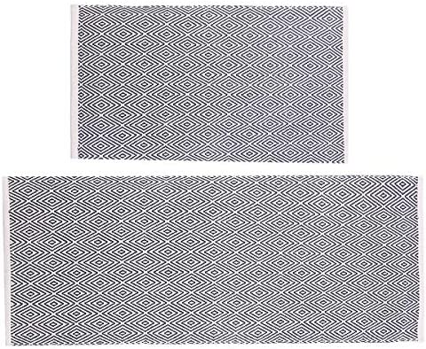 HEBE Cotton Area Rug Set 2 Piece 2 x3 2 x4.2 Machine Washable Reversilbe Diamond Woven Cotton Rugs and Runner Set for Kitchen Floor Living Laundry Room Bedroom