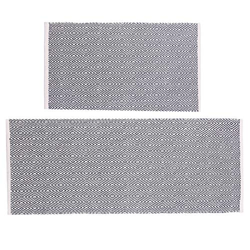 HEBE Cotton Area Rug Set 2 Piece 2'x3'+2'x4.2' Reversilbe Woven Cotton Area Rugs Runner Machine Washable Cotton Rugs for Living Room Bedroom Kitchen