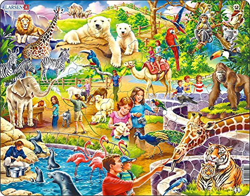 Puzzle Shaped Zoo Animals (Larsen US30 Zoo Animals Puzzle For Kids (48 Pieces))