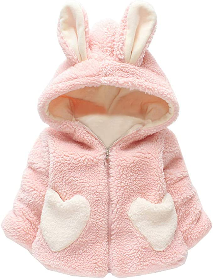 Fashion Toddler Kids Baby Girl Fleece Warm Thick Rabbit Ears Hooded Coat Outwear