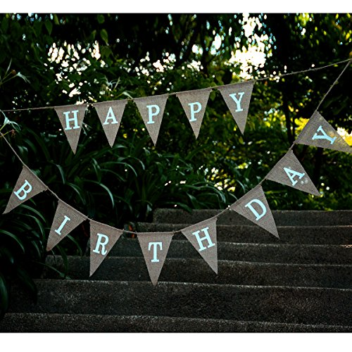 kingleder Happy Birthday Burlap Banner Rustic Birthday Party Bunting Banners Baby Shower Party Decorating Hemp Linen Pennant(5''X (Burlap Happy Birthday Banner)