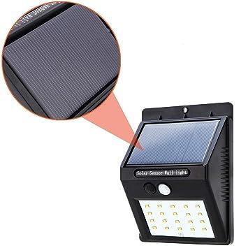 TradeShopTraesio® - Faro de 20 LED con panel solar, sensor de movimiento y movimiento