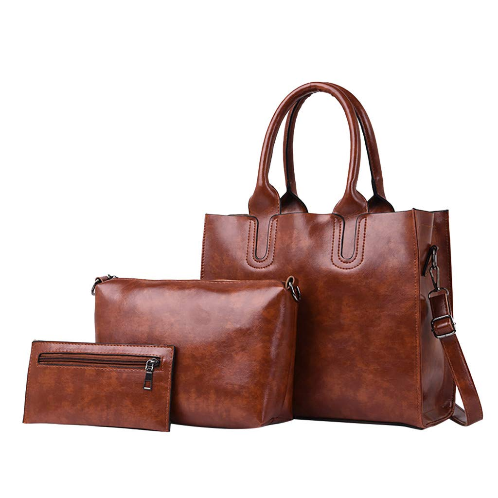 3 Pcs Handle Bag,AgrinTol Women Pattern Solid Messenger Bag+Handbag+Coin Purse (Brown) by Agrintol_Fashion Bags