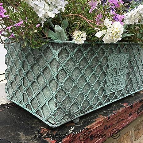 Francese invecchiato stile vintage in metallo muro giardino fioriera vaso rettangolare verde 43cm