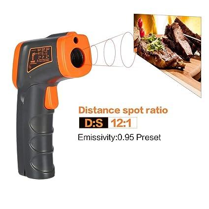 GGkdalio Smart Sensor LCD AT380 termómetro infrarrojo sin Contacto termómetro infrarrojo Temperatura pirómetro IR láser Punto