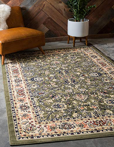 Unique Loom Kashan Collection Traditional Floral Overall Pattern with Border Green Area Rug (5' x 8')
