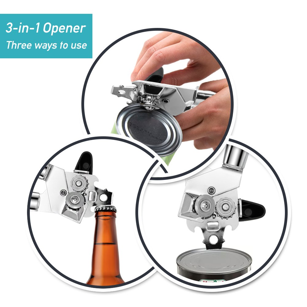 Sonkir Can Opener, Professional Portable Manual Can Opener, Built in Bottle Opener and Lid Lifter with Stainless Steel Sharp Blade, Turn Knob and Anti-Slip Handles