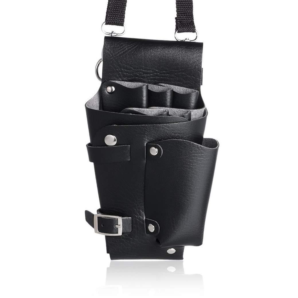 Xrten Portable PU Leather Holster Scissor Holder Bag, Hair Scissor Pouch with Waist Shoulder Belt