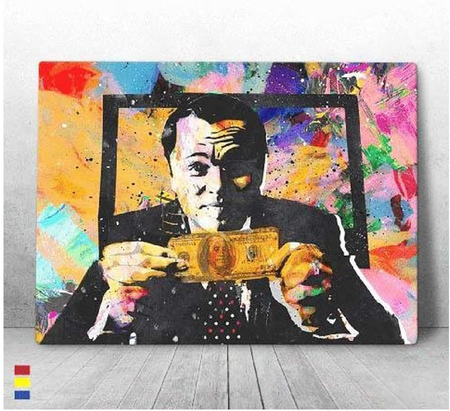 CANVAS CULTURES Home Decor Invincible Wolf of Wall Street Art Wall Decor or Motivational Wall Canvas Art Room Decor - Premium Materials - USA Made (40W x 30L)