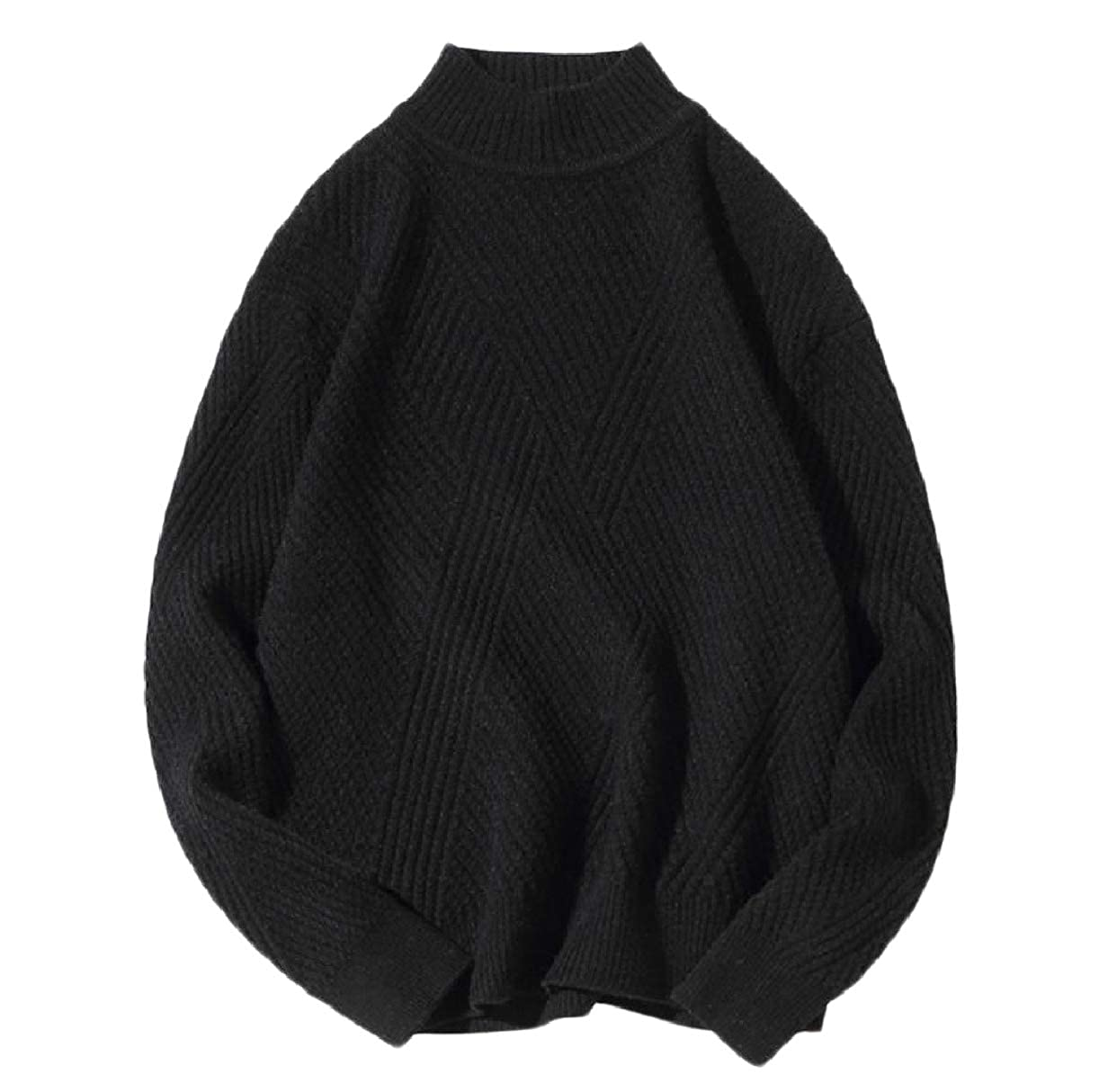 Abetteric Men Soft Winter Relaxed-Fit Ribbed Select Knit Sweater Blouse