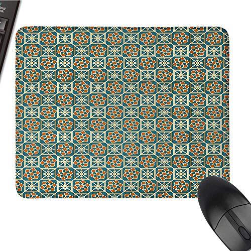 ArabicE-Sports Gaming Mouse PadArabesque Style Flower Arrangement Daffodils Ancient Old Framework Artsy PrintNonslip Rubber Base 9.8