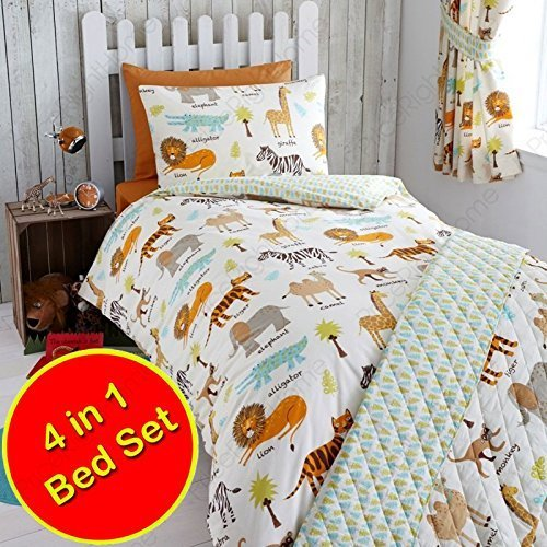 My Safari Animals 4 in 1 Junior Bedding Bundle (Duvet + Pillow + Covers) by Harwood Textiles by Harwood Textiles