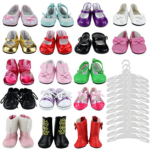 Barwa Lot 17 Items Doll Shoes Sets 5 Pair Outdoor Lovely Shoes Random Style+ 12 Pcs Clothes Hangers for American 18 Inch Girl Doll