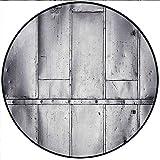Short Plush Round Rug Metal Steel Panels Industrial Aluminum Background Futuristic Engineering Silver Anti-Slip Children's Floor 23.6'' x 23.6'' Round