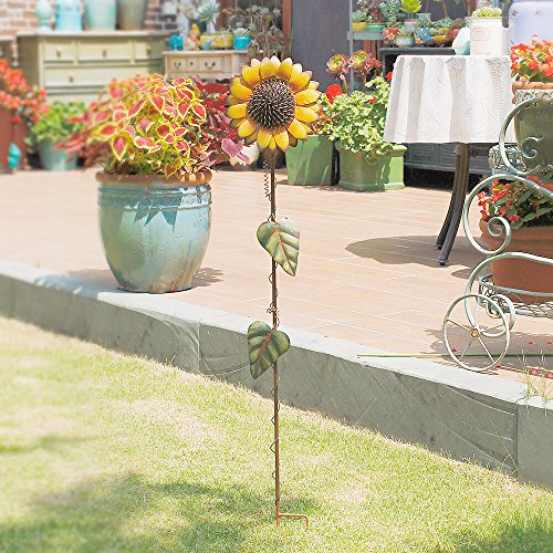 Morning View 39inch Sunflower Garden Stake Flower Yard Stake Outdoor Decor Metal Yard Art Sunflower Lawn Decoration