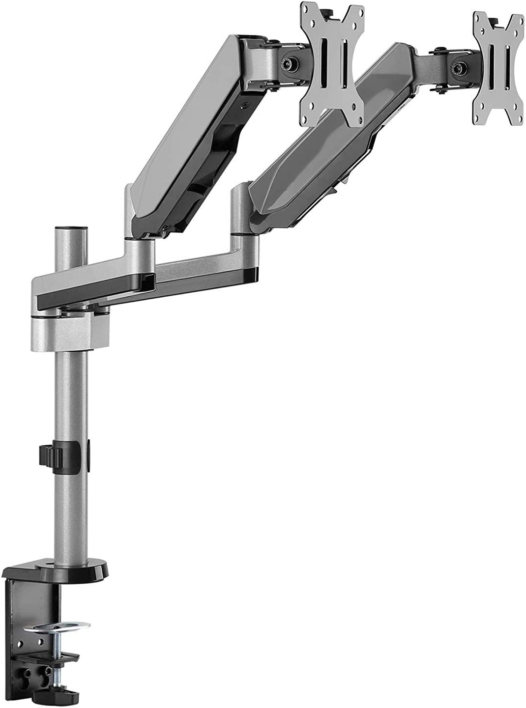 """AVLT-Power Dual 32"""" Monitor Long Pole Desk Stand - Mount Two 17.6 lbs Computer Monitors on 2 Full Motion Adjustable Arms - Organize Your Work Surface with Ergonomic Viewing Angle VESA Monitor Riser"""