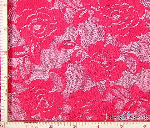 Neon Dark Orange Big Flower Stretch Lace Fabric 4 Way Stretch Nylon Spandex 4 Oz 56-58