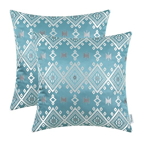 CaliTime Pack of 2 Throw Pillow Covers Cases Couch Sofa Home Decoration Vintage Southwestern Plaid Geometric 18 X 18 inches Teal