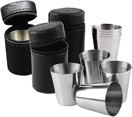 Vasos de chupito de acero inoxidable, 12 piezas de 1 onza vasos de chupito de vidrio