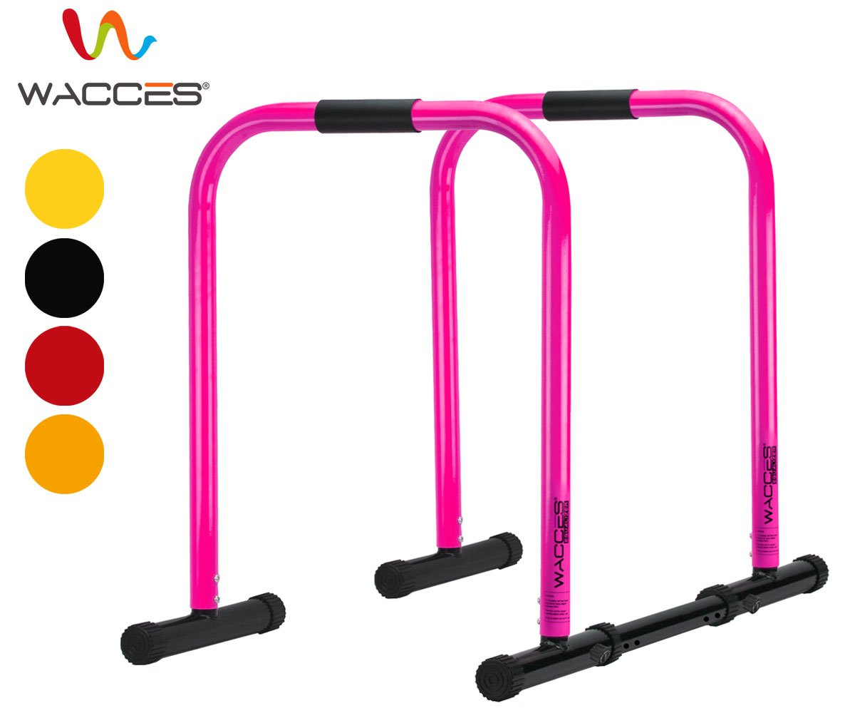 Wacces Heavy Duty Functional Fitness Station Stabilizer Dip Stands - Pink