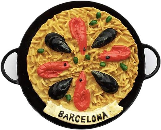 3D España Mariscos Paella Frigorífico Imán de Nevera Recuerdos Turísticos Hecho A Mano de Resina Artesanía Pegatinas Magnéticas Inicio Cocina Decoración Regalo de Viaje: Amazon.es: Hogar