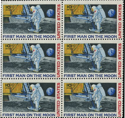 FIRST MAN ON THE MOON ~ NEIL ARMSTRONG ~ SPACE ~ MOON LANDING ~ NASA ~ AIRMAIL #C076 Block of Six by 10¢ US Postage Stamps