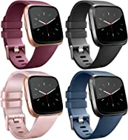 Tobfit for Fitbit Versa Band/Fitbit Versa Lite Bands, Sport Wristband Small Large Classic TPU Replacement Watch Band for...