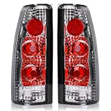 Taillights Tail Lamps For Chevy Blazer C/K Pickup Suburban Tahoe GMC C/K Pickup Suburban Yukon Cadillac Escalade (Chrome Red Replacement Assembly FITS BARN DOOR & LIFT GATE ONLY)