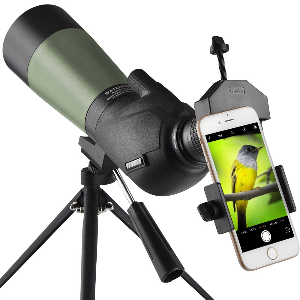 Gosky 20-60×60 HD Spotting Scope with Tripod, Carrying Bag and Scope Phone Adapter – BAK4 45 Degree Angled Eyepiece Telescope for Target Shooting Hunting Bird Watching Wildlife Scenery