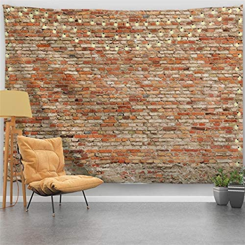 PROCIDA Brick Wall Tapestry Marble Wall Vintage Texture Stone Large Wall Hanging Home Decor for Dorm Room Bedroom Living Room College, Nail Included, 90 W x 71 L, Loam Brick Wall
