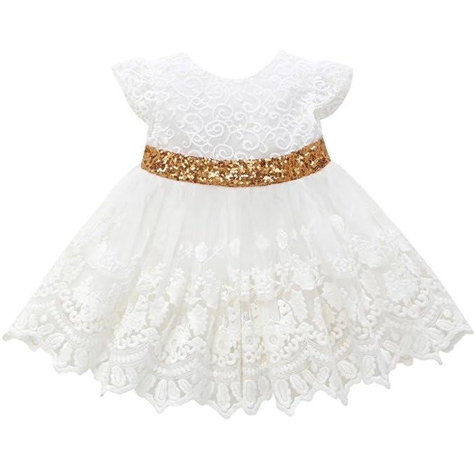 Btruely Herren bebe Niña Vestidos mangas corta Tutú Vestido de princesa de encaje floral con estampado de lazo Vestido de novia para niñas: Amazon.es: Ropa ...