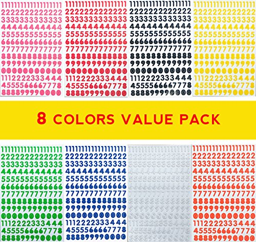 Jazzstick Small Number 0-9 Decorative Sticker Value Pack Bulk 8 sheets Assorted Colors Red/Green/Orange/Black/White/Navy/Yellow/Pink 14E