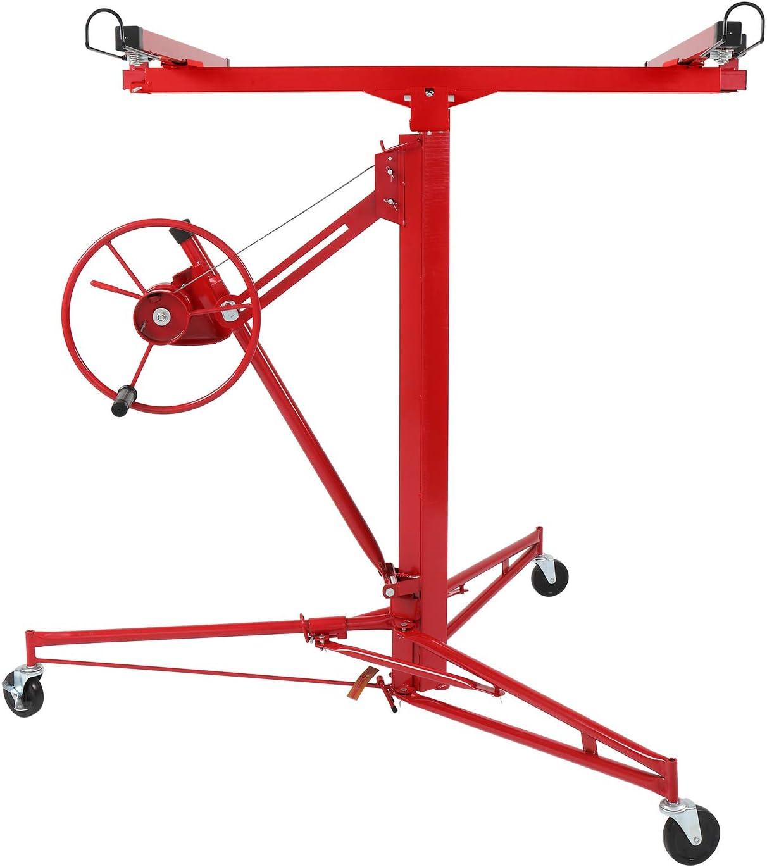 VINGLI 11 FT Drywall Lift Portable Sheetrock Lift Rolling Panel Hoist Jack Lifter Construction Tools with Adjustable Telescopic Arm Lockable Caster Wheel,