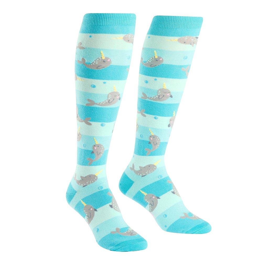 Sock It To Me, Unicorn of the Sea, Women's Knee-High Funky Socks, Narwhal Socks F0349