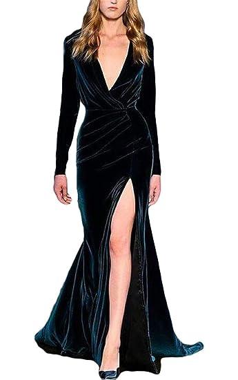 Vikdressy Womens Mermaid V Neck Long Sleeves Prom Formal Gown