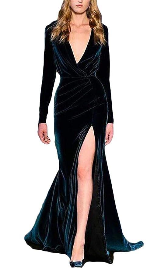 52095293937 VikDressy Women s Mermaid V-Neck Long Sleeves Prom Formal Gown Sheath Velvet  Evening Dress at Amazon Women s Clothing store