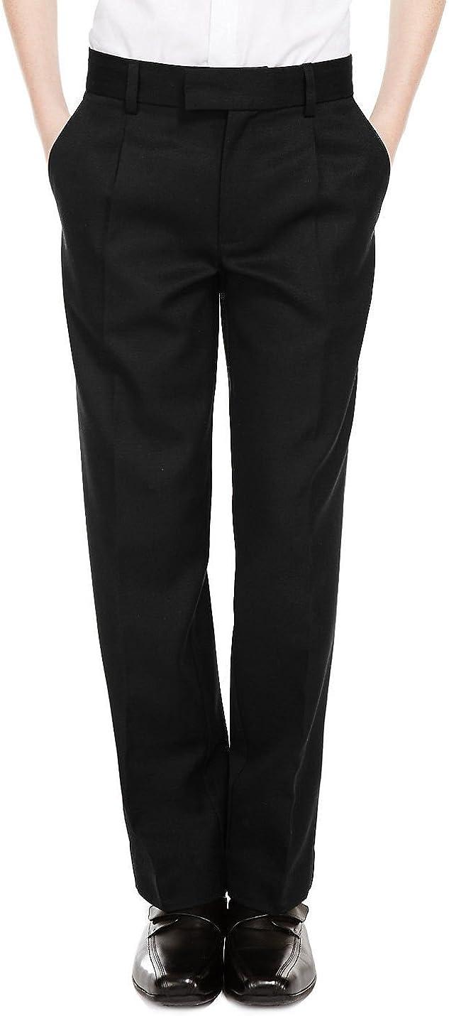 3XL Generous Fit Wider Waist Shorter Leg Black Grey Ages 7-16 Boys Sturdy Fit School Trousers Plus Fit Elasticated Waist XS