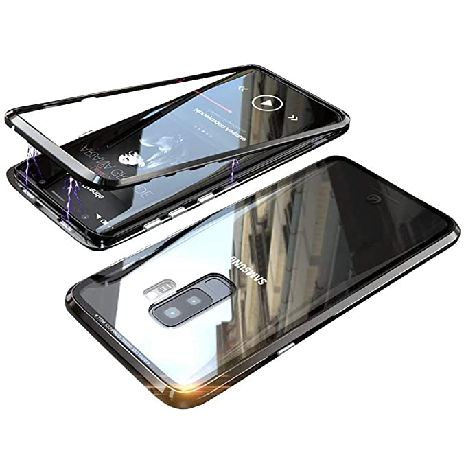 quality design 9ed85 d1db2 Samsung Galaxy S9 Plus Case Magnetic Adsorption case for Samsung S9 Plus  case Luxury Metal Bumper+Transparent Tempered Glass for Samsung Galaxy S9  ...